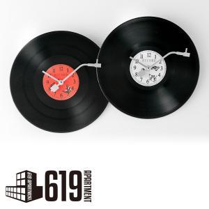 壁掛け時計 レトロ ヴィンテージ風 インテリア レコード型 時計(壁掛けフック付き)|619apartment