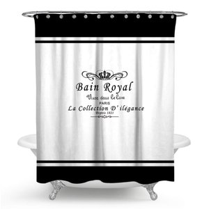 ヨーロッパ クラウン英語プリント シャワーカーテン 防水 防カビ お風呂 180cm × 180cm|69rock