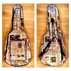 アコギ エレアコ ギター エレキ セミハードケース ケース カバー 英字新聞柄 エレキギター アコースティックギター|69rock