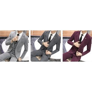 スーツ セットアップ ビジネス ベスト ジャケット パンツ 3点セット ストライプ ボーダー オシャレ ダークグレイ グレイ パープル 紫 灰色 ジレ ボトムス メンズ|69rock