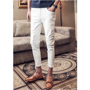 ホワイト クラッシュ ダメージ ジーンズ ズボン クロップド パンツ|69rock