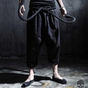 ブラック 極太ヒモ ズボン パンツ|69rock