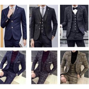 スーツ セットアップ ビジネス ベスト ジャケット パンツ 3点セット ストライプ ボーダー オシャレ 黄 黒 青 グレイ ジレ ボトムス メンズ|69rock