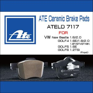 欧州車専用ダストレスセラミックブレーキパッドATE VW New Beetle 1.6/2.0 フロント用 ATELD7117/低ダスト/アーテブレーキパッド/ワーゲン/ニュービートル|6degrees