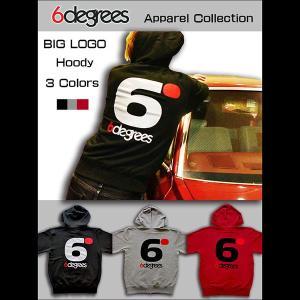 6DEGREES ORIGINAL BIG LOGO HOODY(オリジナルパーカー)BLACK ブラック/ ジップパーカー/バックプリント/アメ車/アメリカン|6degrees