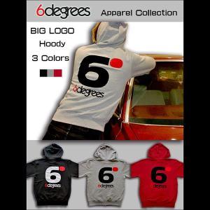 6DEGREES ORIGINAL BIG LOGO HOODY(オリジナルパーカー)HEATHER GRAY 杢グレー/ ジップパーカー/バックプリント/アメ車/アメリカン|6degrees