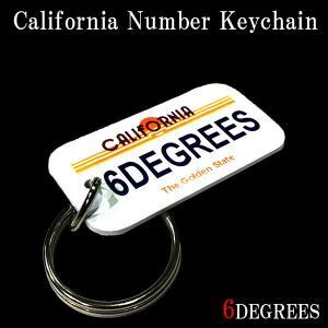 6DEGREESオリジナル カリフォルニアナンバーキーチェーン(6DEGREES Ver,2)/アメ車/シボレー/アクセサリー/キーホルダー|6degrees