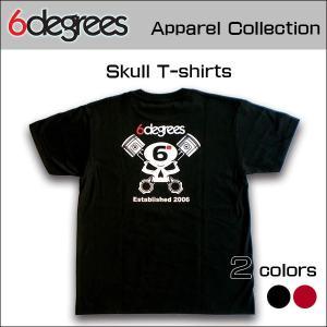 6DEGREES ORIGINAL SKULL T-Shirts(オリジナルTシャツ)BLACK ブラック/ T-シャツ/バックプリント/アメ車/アメリカン|6degrees