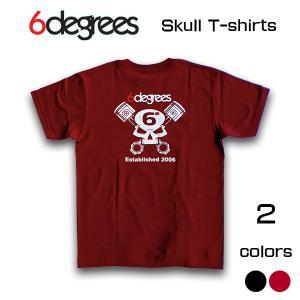 6DEGREES ORIGINAL SKULL T-Shirts(オリジナルTシャツ)BURGUNDY バーガンディー/ T-シャツ/バックプリント/アメ車/アメリカン|6degrees