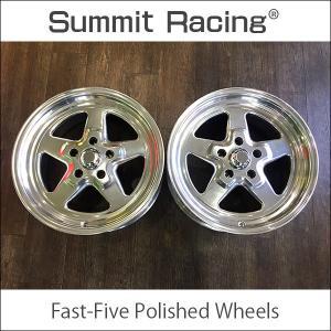 中古 Summit Racing Fast-Five Polished Wheels 17x8.0J ±0 5H 120.65 カマロ コルベット アメ車 WELD RACING ドラッグ|6degrees