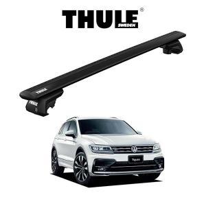 VW ティグアン TIGUAN ウィングバー EVO (ブラック) ルーフラック 『車種別セット』THULE Base carriers (スーリーベースキャリア) キャリアラック パーツ 6degrees
