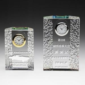 クリスタル時計名入れ彫刻波紋ホログラム大|7-colors