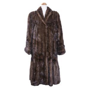 コート レディース 毛皮 サガミンク ロイヤル ロング 裾切替え ブラウン|7-marui