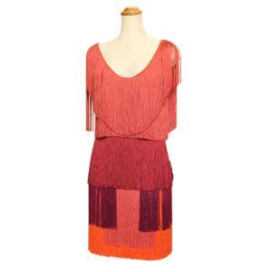 ランバン ドレス ワンピース 全面フリンジ オレンジ×レッド系 サイズ36 未使用品 LANVIN|7-marui
