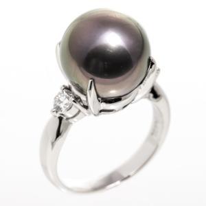 指輪 リング 真珠 ダイヤ ブラックパール 黒蝶貝 Pt900 プラチナ|7-marui