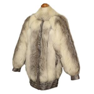 毛皮 コート レディース フォックス レザー ホワイト/シルバーグレー Sサイズ 7-marui