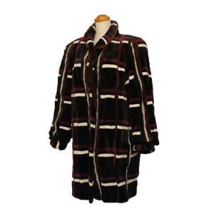 毛皮 レディース コート ファー ミンク シェアードミンク チェック柄 ロングコート 7-marui