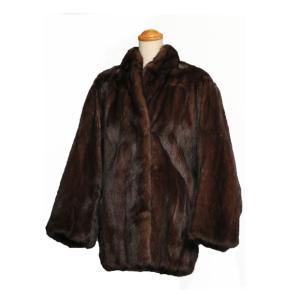 毛皮 コート レディース ショート ミンク ドルマンスリーブ ブラウン 15号 和装にも 7-marui