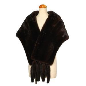 毛皮 ファー ショール ミンク 和装 洋装 フリンジ付き ダークブラウン|7-marui