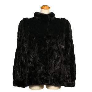 エンバ 毛皮 ファー コート ショート ミンク ブラック レディース EMBA|7-marui