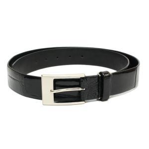 ベルト メンズ クロコ シャイン仕上げ ブラック マットシルバー金具 新品 国内縫製品 7-marui