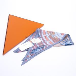 エルメス スカーフ 三角 ポワント シルク 占星術 ブルーグレー系 HERMES 7-marui