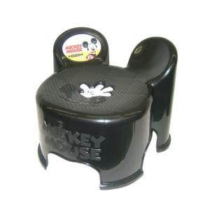 【ギフト包装不可】 錦化成 ミッキーマウス キャラ・スツール キッズチェア BK ブラック ミッキー ディズニー disney キャラ スツール 椅子 イス ローチェア|716baby