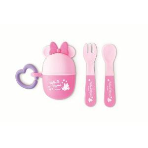 錦化成 NEW ミニーマウス スプーン&フォーク  PK 食器 携帯用  子供用 幼児用 おでかけ 旅行 ディズニー|716baby