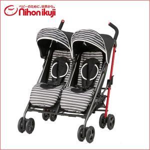 ベビーカー バギー ツインハートDuoスティック ブラウンボーダー 日本育児 二人乗り 双子 デュオ タンデム 2人乗り ポイント5倍 一部地域 送料無料 716baby