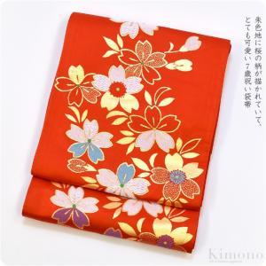 七五三 帯 子供用 正絹袋帯 朱系 手結び帯 七歳 7歳 日本製 子供 女の子 女児 宅配便のみ 10019943 753ya