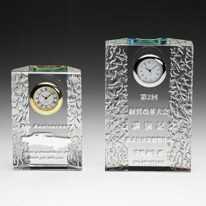 クリスタル時計名入れ彫刻波紋ホログラム大|7colors-glassart