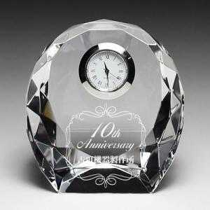 クリスタル時計名入れ彫刻ダイヤカット小|7colors-glassart