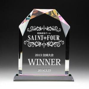 クリスタル盾名入れ彫刻ホログラム加工大|7colors-glassart