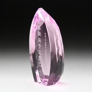 クリスタル位牌 しずく型(ピンク)大|7colors-glassart