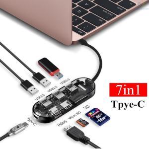 USB Type C ハブ 7in1 USB C ハブ USB C ドッキングステーション 4K H...