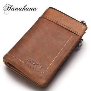 財布 メンズ財布 二つ折り サイフ さいふ 本革 牛革 小銭入れ ファスナーポケット カード入れ 軽量 ブラウン|8787-store