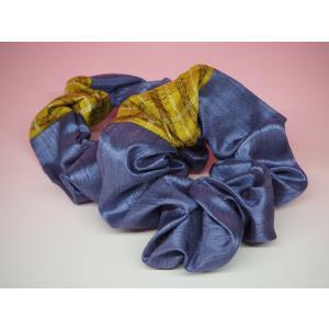 黄八丈 シュシュ(紫)|8jomingei