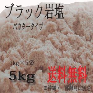 ブラック岩塩 パウダータイプ 5kg 1kg×5袋 バスソルト 入浴用