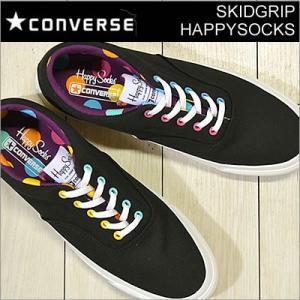 CONVERSE コンバース SKIDGRIP HAPPYSOCKS スキッドグリップ ハッピーソックス BLACK ブラック 靴 スニーカー シューズ コラボ スウェーデン 北欧|928wing
