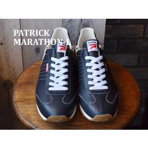 パトリック スニーカー メンズ レディース PATRICK マラソン・レザー ネイビー 98902 ...