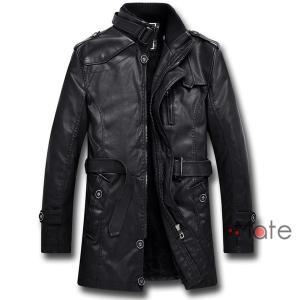 革ジャン メンズ レザージャケット アウター コート ジャケット 裏ボア 皮ジャン PUレザー ベルト付き あったか|99mate