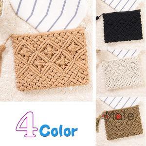 手編みバッグ ミニバッグ レディース バッグ 財布 ペーパーバッグ サコッシュ 小銭 小型バッグ チュラル 編み込み かわいい|99mate