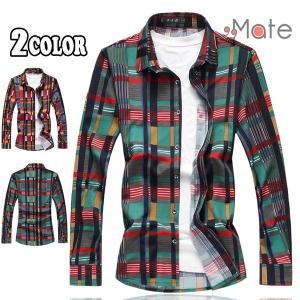 ネルシャツ メンズ 開襟シャツ チェックシャツ カジュアルシャツ シャツ 長袖 トップス チェック柄 大きいサイズ オシャレ|99mate