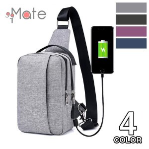 ボディバッグ ショルダーバッグ メンズ レディース ワンショルダーバック 斜め掛け USB充電ポート アウトドア 男女兼用|99mate