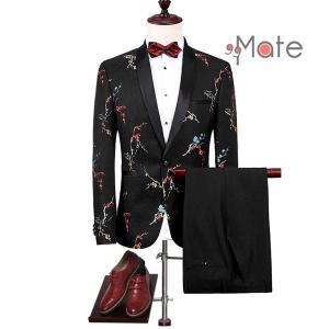 オシャレ スーツ メンズ 結婚式 カジュアルスーツ 2ピーススーツ スリム 礼服 卒業式 紳士服 花柄刺繍 ジャガード生地 新生活|99mate