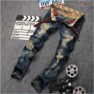 ジーンズ メンズ デニムパンツ パンツ デニム スキニーパンツ ジーパン Gパン ダメージ加工 ユーズド ウォッシュ クラッシュ|99mate