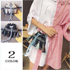 バッグ レディース ポシェット 巾着 ショルダーバッグ 斜めがけ ミニバッグ オシャレなバッグ 小さめ カバン フリンジ 鞄|99mate