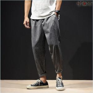 テーパードパンツ メンズ 夏 パンツ 九分丈 リブパンツ アンクル丈 ボトムス ストライプ柄 ゆったり おしゃれ 涼しい 40代 50代|99mate