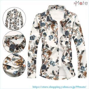 カジュアルシャツ メンズ シャツ 長袖シャツ 花柄シャツ アロハシャツ 開襟シャツ トップス ホスト 総柄 40代|99mate