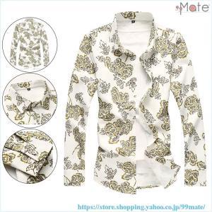 アロハシャツ メンズ シャツ 長袖 花柄シャツ カジュアルシャツ 長袖シャツ 開襟シャツ ワイシャツ 和柄 おしゃれ ホスト|99mate